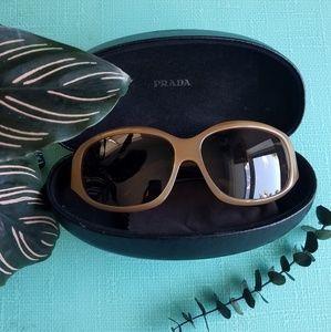 PRADA Oval Frame Tan Sunglasses Vintage